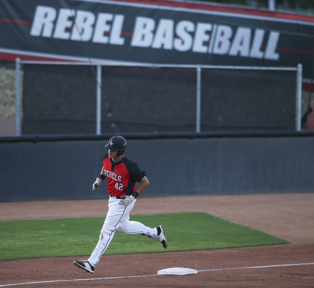 UNLV's Nick Ames (42) rounds third base on his home run against Arizona State during a baseball game at Wilson Stadium in Las Vegas on Tuesday, April 18, 2017. Chase Stevens Las Vegas Review-Journ ...