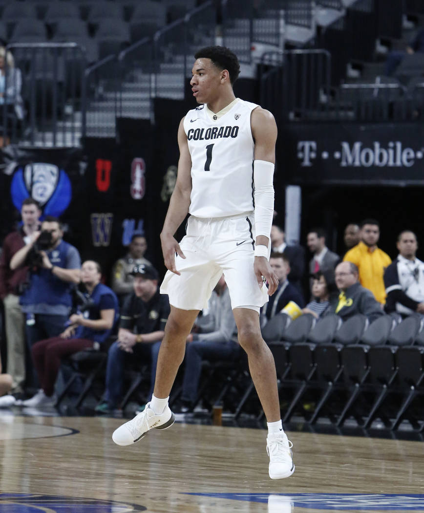 Colorado Buffaloes' Tyler Bey reacts after scoring during an NCAA college basketball game in the first round of the Pac-12 tournament on Wednesday, March 7, 2018, in Las Vegas. Colorado won 97-85. ...