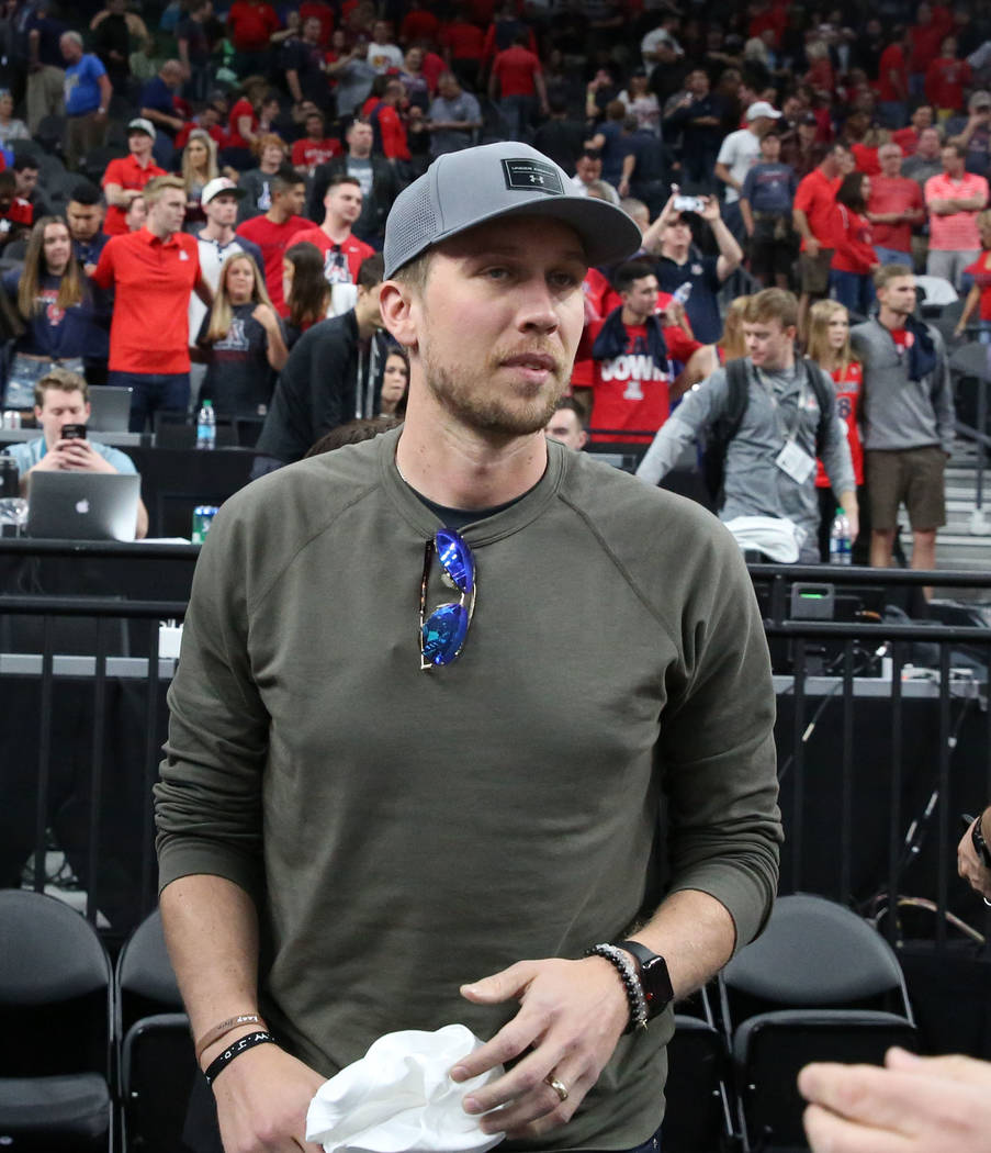 Eagles quarterback Nick Foles attends an NCAA college basketball game between Colorado Buffaloes and Arizona Wildcats in the quarter final of the Pac-12 tournament on Thursday, March 8, 2018, in L ...