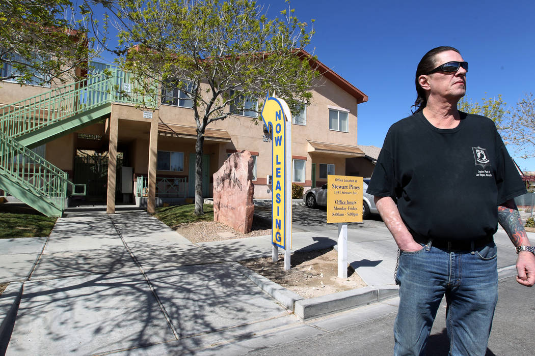 Todd Nybeck outside Blanchard Arms apartments at 321 N. 9th St., north of Stewart Avenue in downtown Las Vegas on Tuesday, March 6, 2018. Nybeck has lived at the refurbished complex since July 201 ...