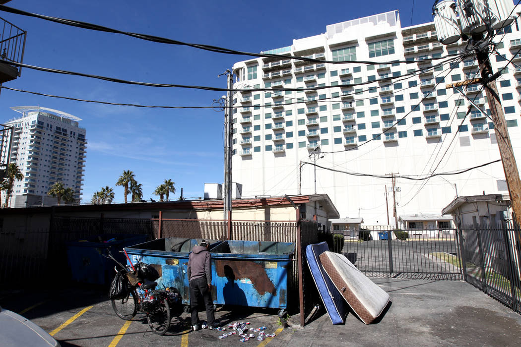 Newport Lofts, left, and Soho Lofts are shown in downtown Las Vegas on Tuesday, March 6, 2018. (K.M. Cannon/Las Vegas Review-Journal) @KMCannonPhoto