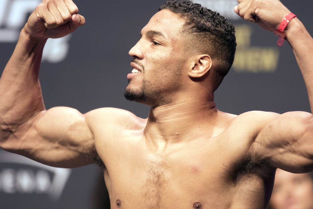 UFC lightweight contender Kevin Lee on the scale at the T-Mobile Arena during the UFC 216 ceremonial weigh-ins in Las Vegas, Friday, Oct. 6, 2017. Heidi Fang Las Vegas Review-Journal @HeidiFang
