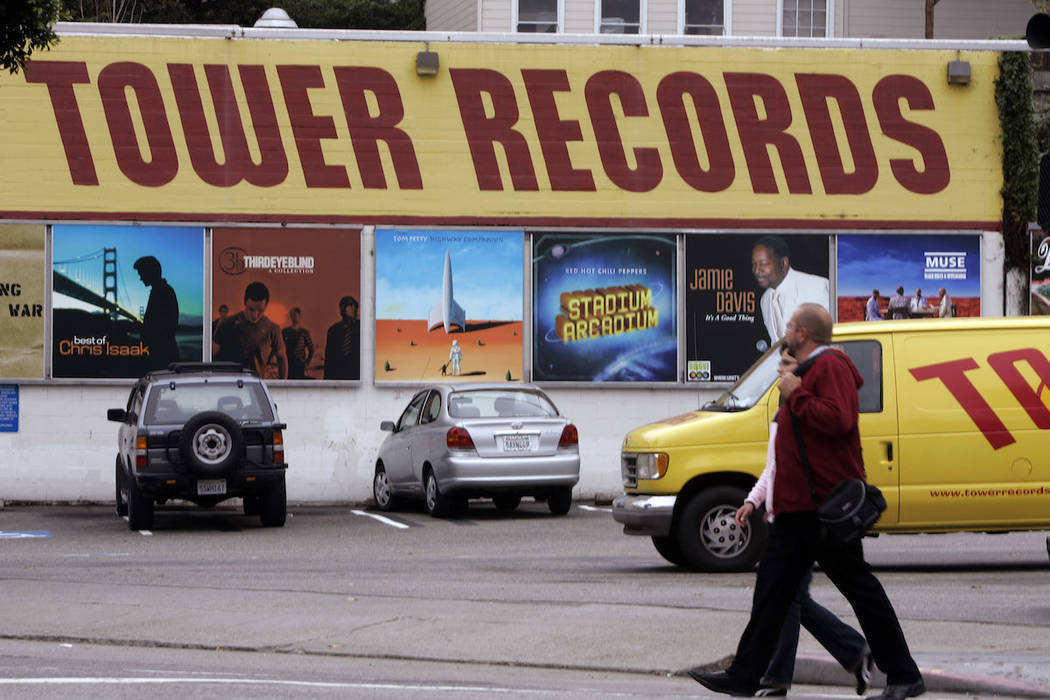 An exterior view of a Tower Records store is seen in San Francisco, Friday, Oct. 6, 2006. (AP Photo/Paul Sakuma)