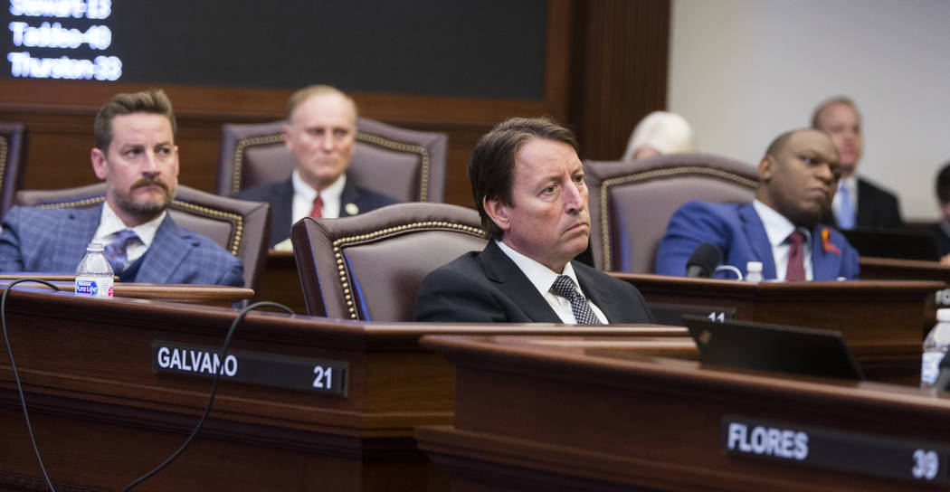 Florida Sens., from left, Greg Steube, David Simmons, Bill Galvano and Randolph Bracy listen as Sen. Lauren Book makes an impassioned plea for passage of the Marjory Stoneman Douglas High School S ...