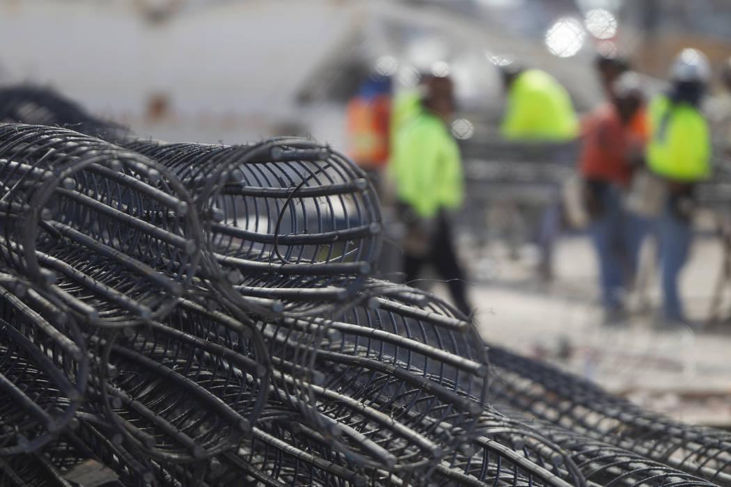 Steel rods at the future Raiders stadium site in Las Vegas, Tuesday, March 6, 2018. (Erik Verduzco/Las Vegas Review-Journal) @Erik_Verduzco