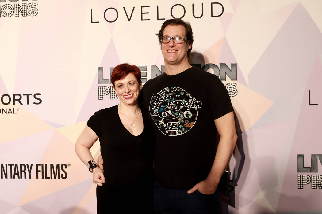 "Sheena Joyce and Don Argott pose before a VIP screening of ""Believer,"" the documentary by Imagine Dragons frontman Dan Reynolds, at KA Theatre at MGM Grand in Las Vegas on Thursday, Marc ..."