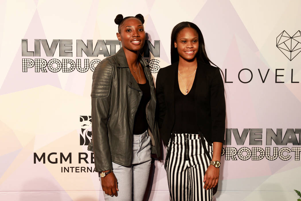 "Sequoia Holmes and Moriah Jefferson, both with Las Vegas Aces, pose before a VIP screening of ""Believer,"" the documentary by Imagine Dragons frontman Dan Reynolds, at KA Theatre at MGM G ..."