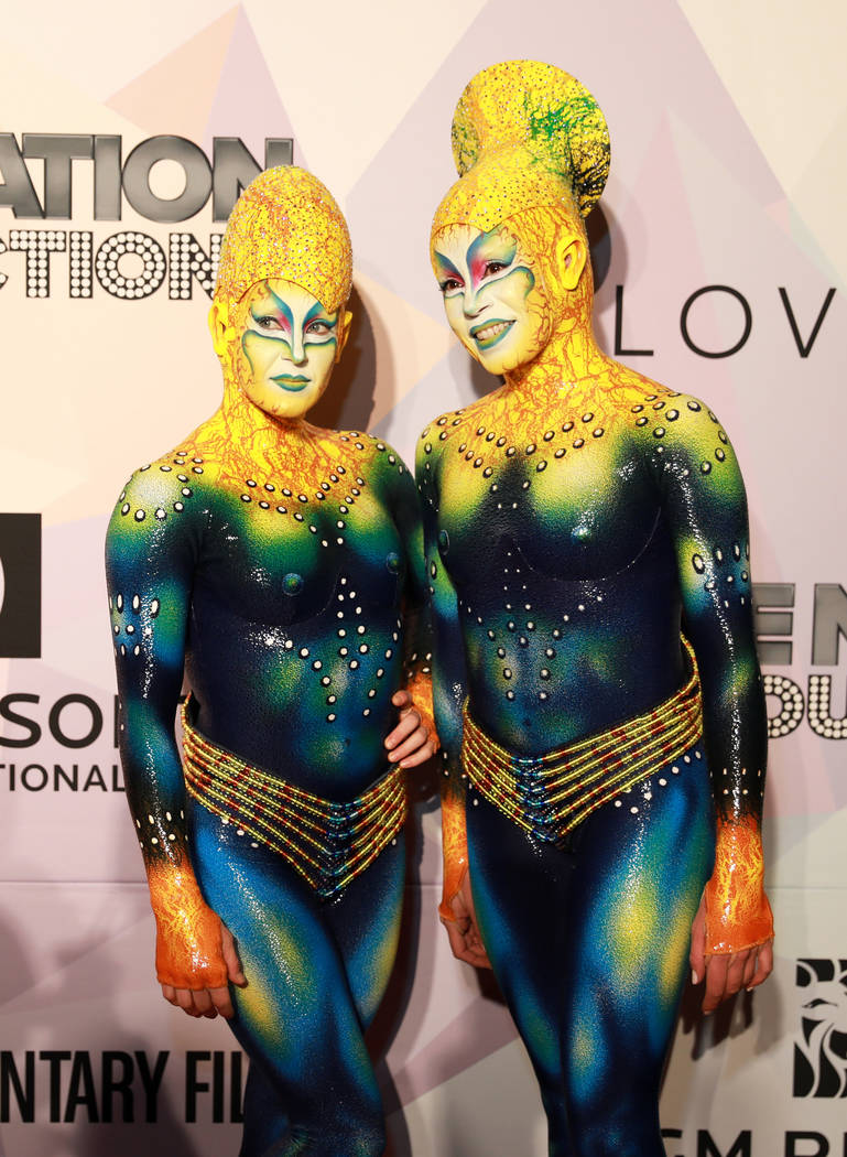 "Artists from KA by Cirque du Soleil pose during a VIP screening of ""Believer,"" the documentary by Imagine Dragons frontman Dan Reynolds, at KA Theatre at MGM Grand in Las Vegas on Thursd ..."