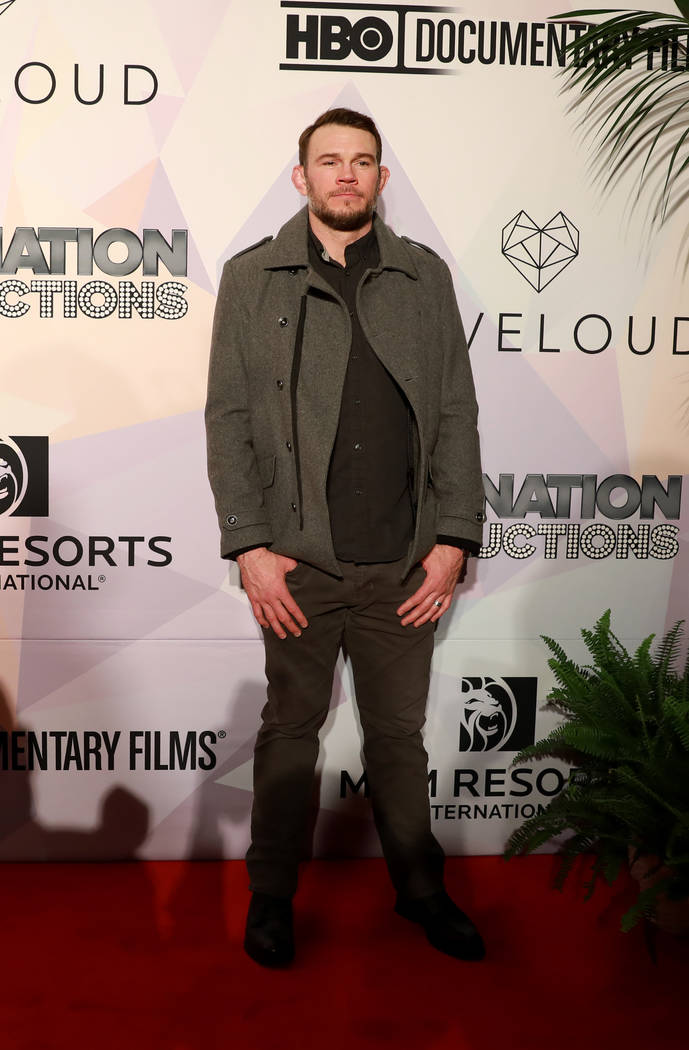 "Forrest Griffin, UFC Hall of Famer, poses before a VIP screening of ""Believer,"" the documentary by Imagine Dragons frontman Dan Reynolds, at KA Theatre at MGM Grand in Las Vegas on Thurs ..."