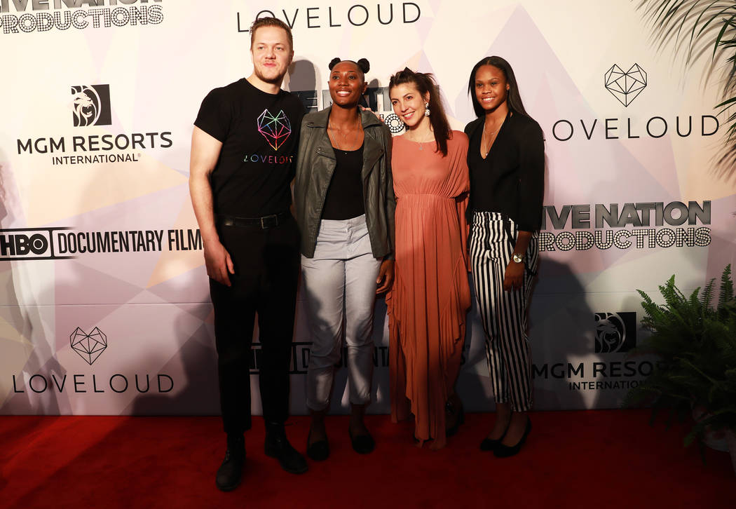 "Dan Reynolds, Sequoia Holmes, Aja Volkman  and Moriah Jefferson pose before a VIP screening of ""Believer,"" the documentary by Imagine Dragons frontman, Reynolds, at KA Theatre at MGM Gra ..."