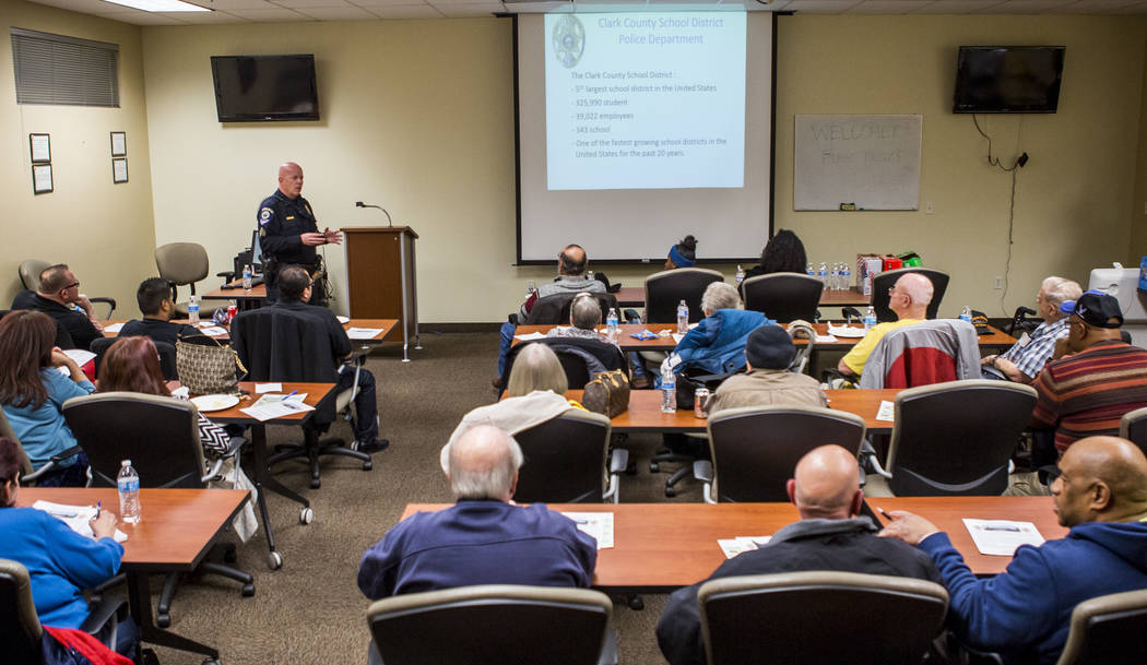 "CCSD Police Sgt. Bryan Zink discusses school safety measures and policing in the Clark County School District during a ""1st Tuesday"" event at Metro's Northeast Area Command on Tuesday, M ..."