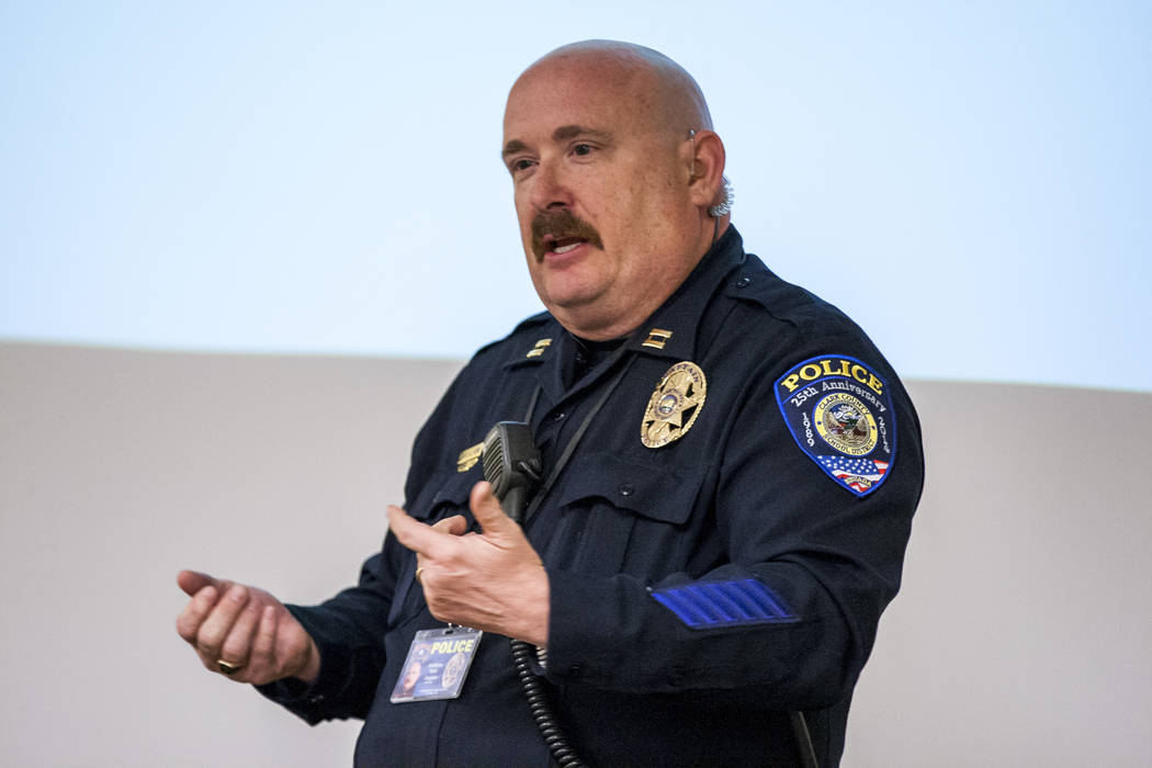 "CCSD Capt. Anthony York discusses school safety measures and policing in the Clark County School District during a ""1st Tuesday"" event at Metro's Northeast Area Command on Tuesday, March ..."