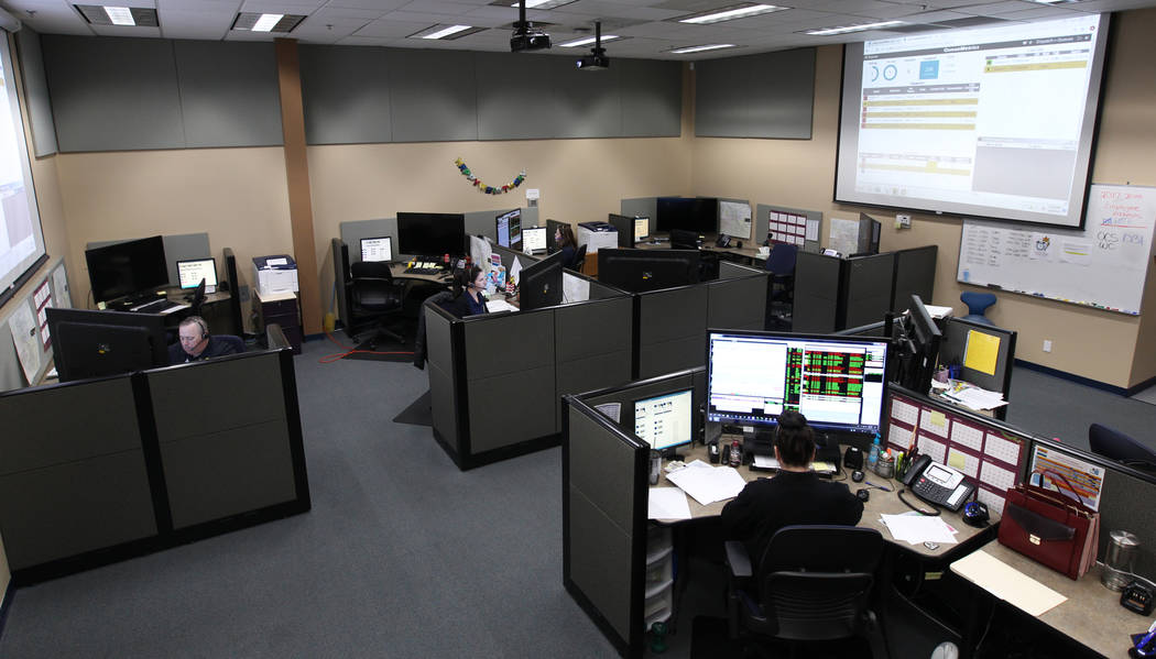 The dispatch center at Clark County School District Police headquarters in Henderson Thursday, March 8, 2018. K.M. Cannon Las Vegas Review-Journal @KMCannonPhoto