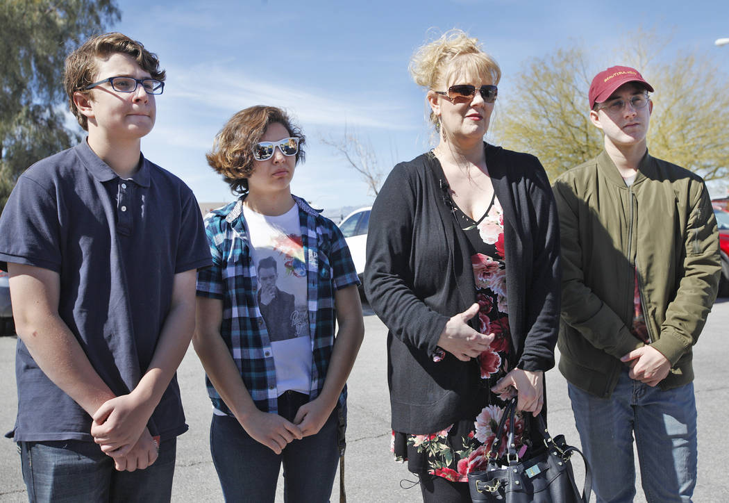 Elijah Isbell, 13, from left, Cinthea Daly, 18, Solinea Stark, and Noah Isbell, 19, talk to reporters on Tuesday, March 6, 2018. Stark and her children, Elijah and Noah, were saved early Saturday  ...