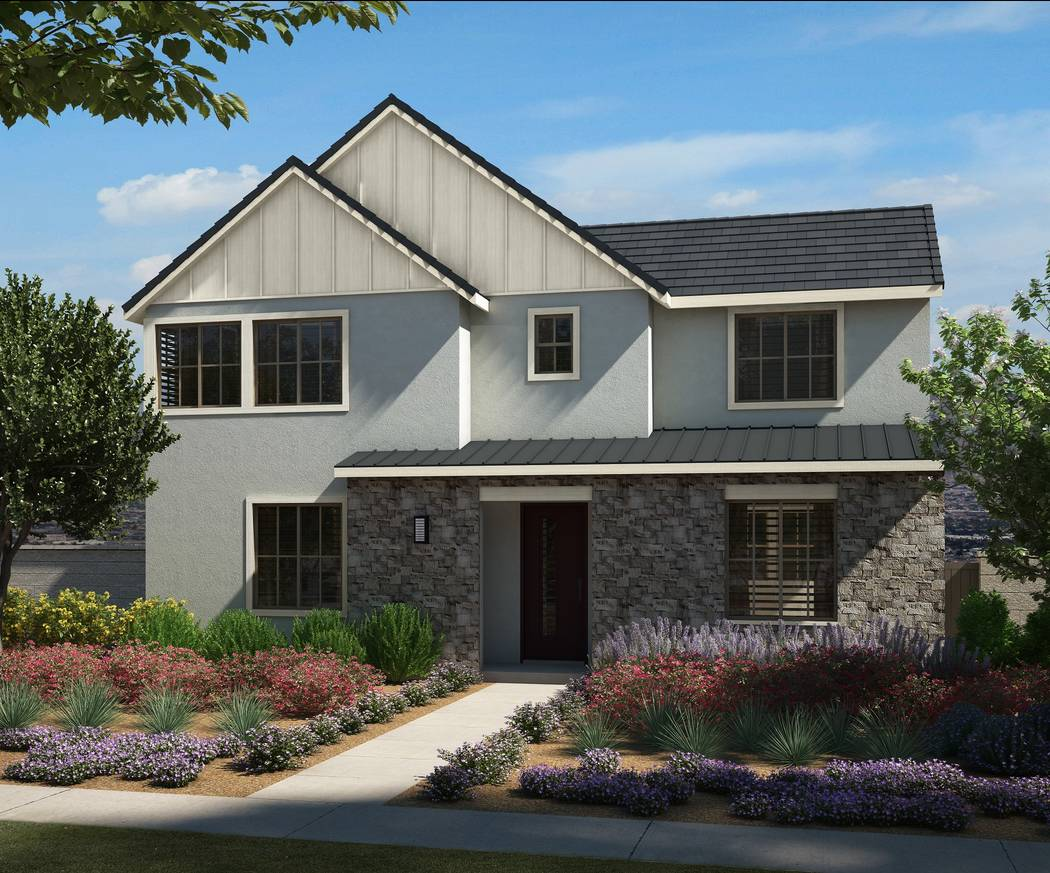 An artist's rendering shows the new Strada Plan Four in the Modern Farmhouse elevation at Pardee Homes' Strada neighborhood in the master-planned Inspirada community in Henderson. (Pardee Homes)