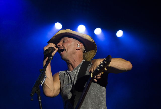 """Kenny Chesney performs during the last day of the American Country Music's """"Party for a Cause,"""" event at the Las Vegas Festival Grounds on Sunday, April 3, 2016 in Las Vegas. Benjamin Ha ..."""