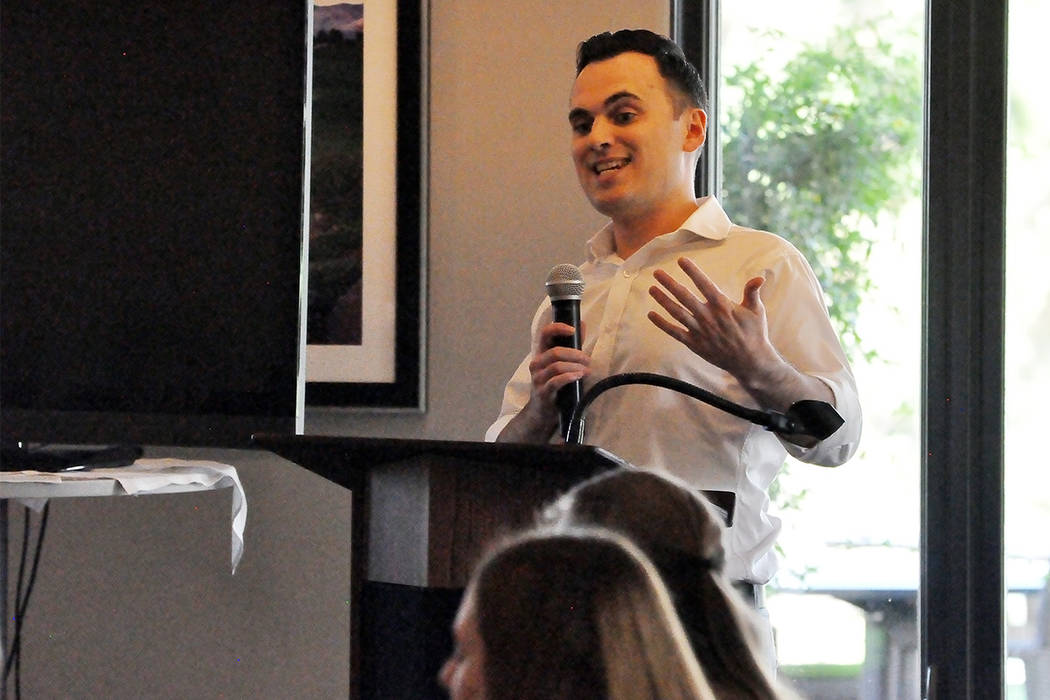 Robert Fellner, transparency director at Nevada Policy Research Institute speaks at an Americans for Prosperity luncheon. (Horace Langford Jr. / Pahrump Valley Times)