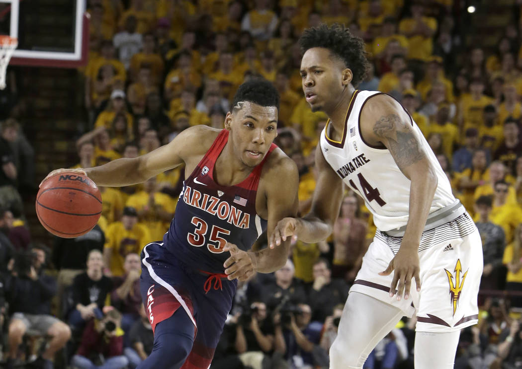 Arizona guard Allonzo Trier (35) in the second half during an NCAA college basketball game against Arizona State, Thursrday, Feb. 15, 2018, in Tempe, Ariz. Arizona defeated Arizona State 77-70. (A ...