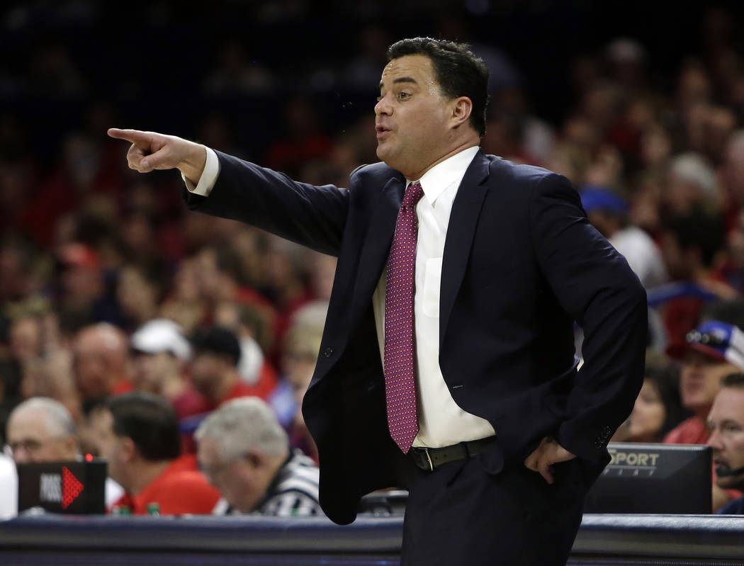 Arizona head coach Sean Miller in the second half during an NCAA college basketball game against California, Saturday, March 3, 2018, in Tucson, Ariz. Arizona defeated California 66-64. (AP Photo/ ...