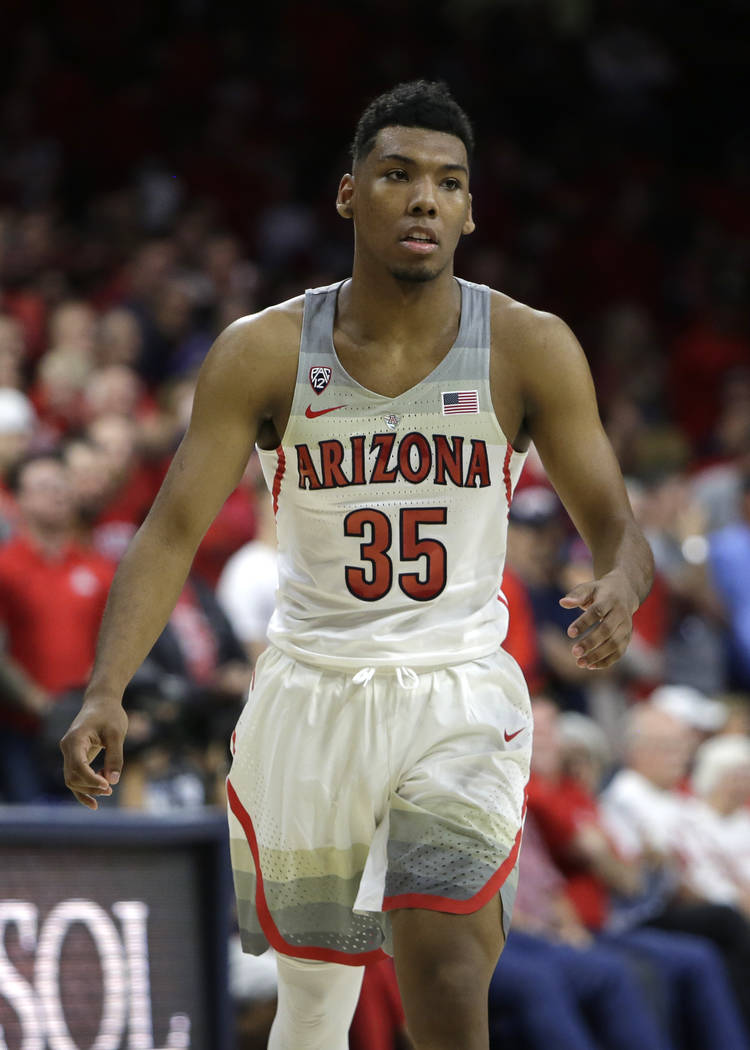 Arizona guard Allonzo Trier (35) during an NCAA college basketball game against California, Saturday, March 3, 2018, in Tucson, Ariz. Arizona defeated California 66-64. (AP Photo/Rick Scuteri)