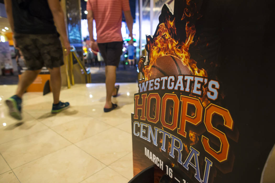 A sign during the first day of the NCAA basketball tournament at the Westgate sports book in Las Vegas on Thursday, March 16, 2017. (Chase Stevens/Las Vegas Review-Journal) @csstevensphoto