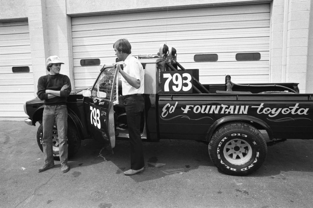 Mike Marudos and Sam Whitaker, members of the four-man Ed Fountain Toyota racing team, tackled the Mint 400 at the Las Vegas Speedrome, 1980. (Las Vegas Review-Journal)