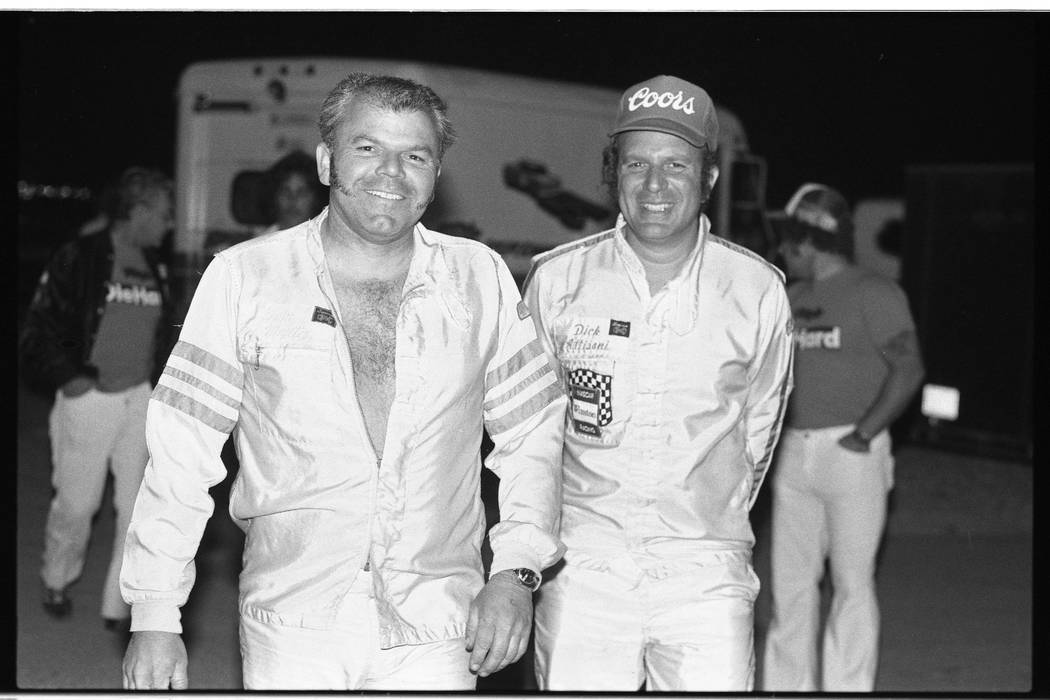 Race car drivers preparing for the 15th annual Mint 400 Desert Race at the Las Vegas Speedrome, 1982. (Las Vegas Review-Journal)