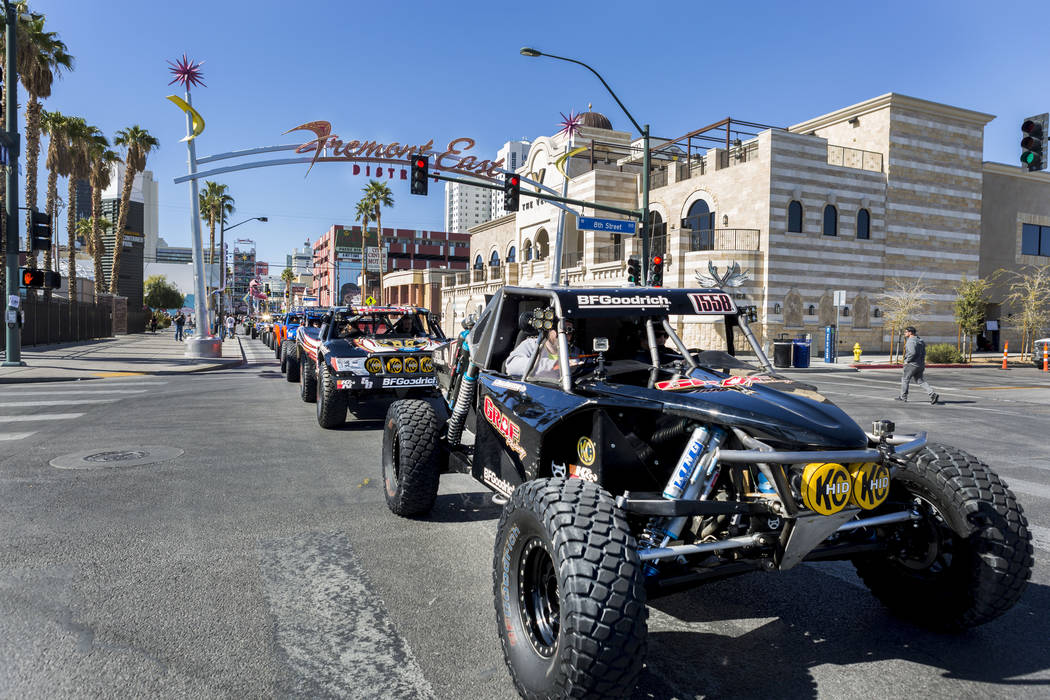 The Mint 400 Truck parade finishes it's route from the Welcome to Fabulous Las Vegas sign to Atomic Liquors, Downtown Las Vegas, Wednesday, March 1, 2017.  (Elizabeth Brumley/Las Vegas Review-Jour ...
