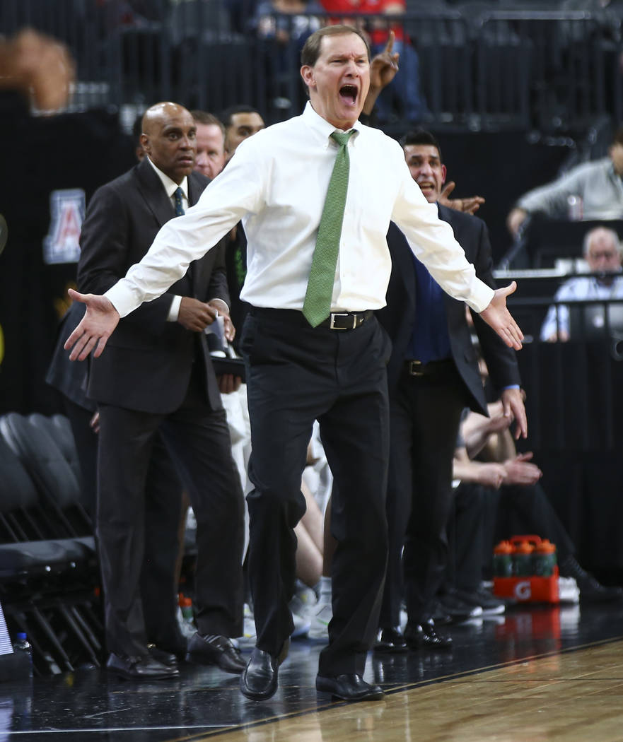 Oregon Ducks head coach Dana Altman reacts as his team plays the Washington State Cougars during the Pac-12 basketball tournament at T-Mobile Arena in Las Vegas on Wednesday, March 7, 2018. Chase  ...