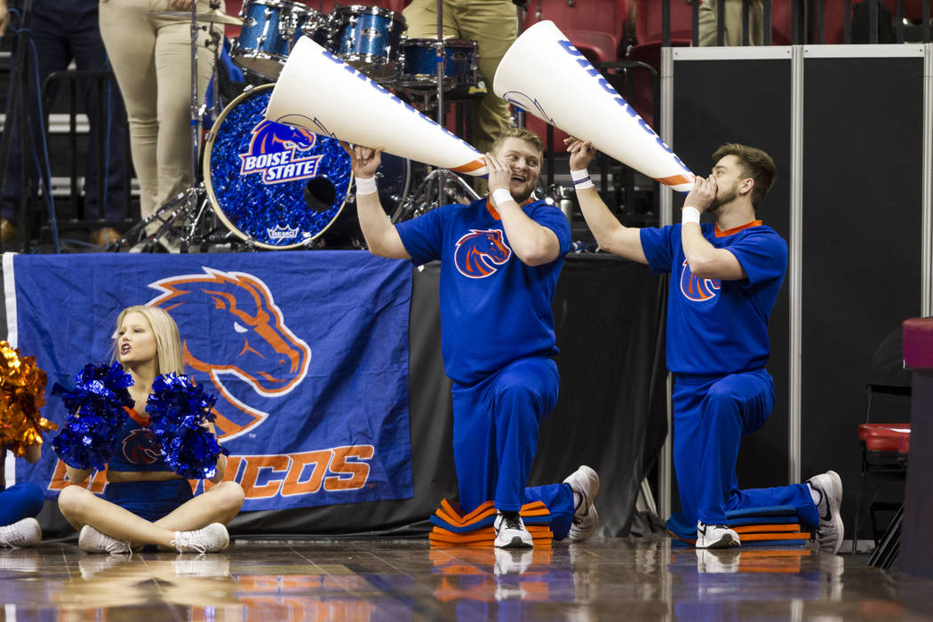 Boise State Broncos cheerleaders during a game against Colorado State Rams in the  Mountain West Conference women's basketball tournament at the Thomas & Mack Center in Las Vegas, Wednesday, M ...