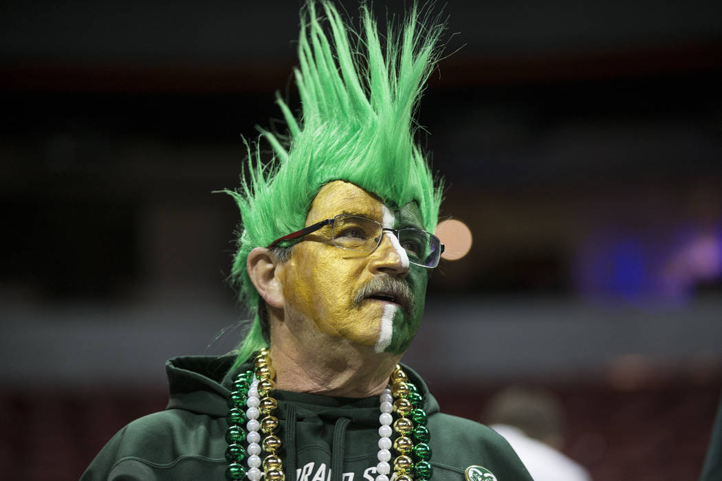 Colorado State Rams fan Buzz Feldman attends a game against Boise State Broncos during the Mountain West Conference women's basketball tournament at the Thomas & Mack Center in Las Vegas, Wedn ...