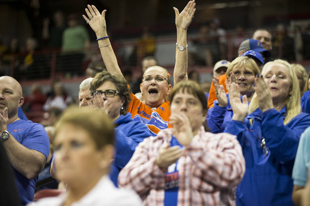 Boise State Broncos fans celebrate a win against Colorado State Rams in the Mountain West Conference women's basketball tournament game in Las Vegas, Wednesday, March 7, 2018. Erik Verduzco Las Ve ...