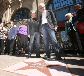 Original Four Seasons group members Frankie Valli, left, and Bob Gaudio stand in front of a star honoring them at the Las Vegas Walk of Stars ceremony Thursday in front of Paris Las Vegas. The pop ...