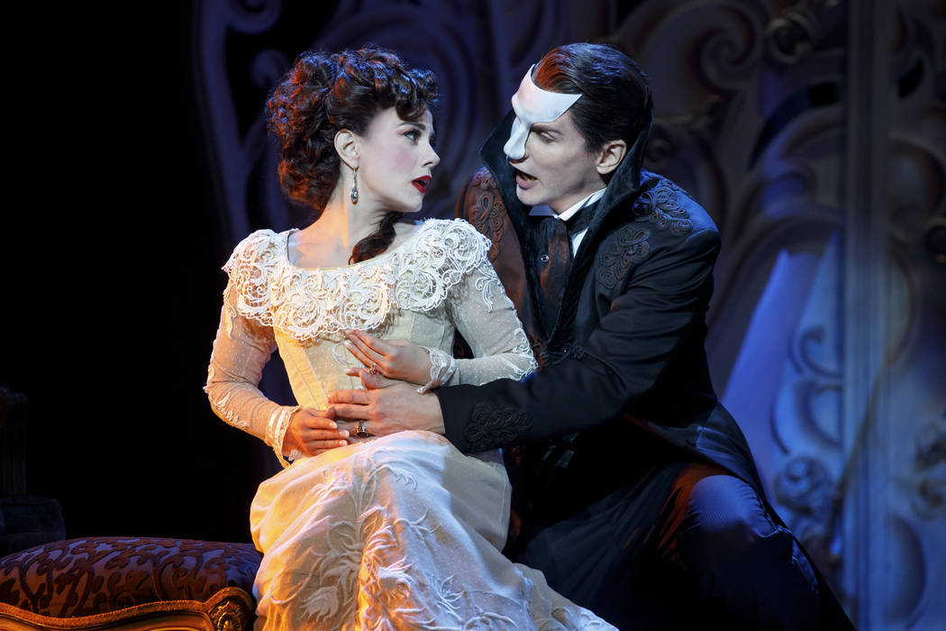 "Christine Daae (Meghan Picerno) and the Phantom (Gardar Thor Cortes) in ""Love Never Dies,"" the ""Phantom of the Opera"" sequel opening March 20 at The Smith Center."