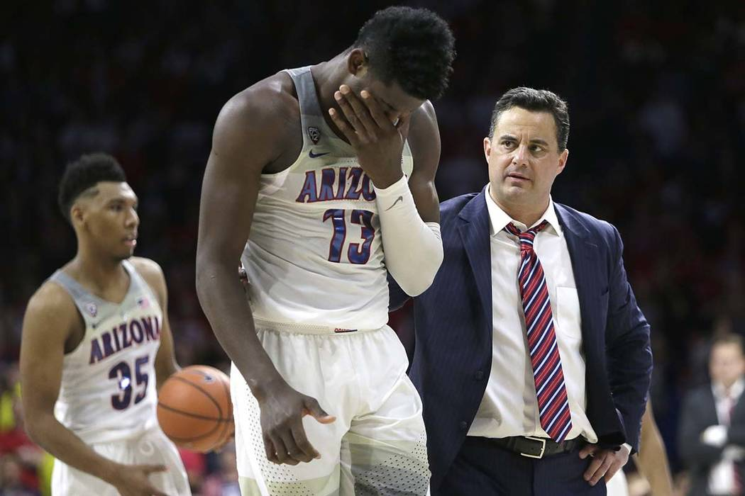 Arizona forward Deandre Ayton, who could be the No. 1 pick in the NBA draft this year, and embattled head coach Sean Miller begin Pac-12 tournament play on Thursday, March 8, 2018, against Colorad ...