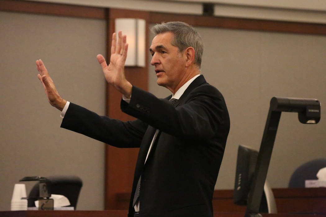 Defense attorney Gabriel Grasso addresses the jury in his closing statement during the trial of Jarom Boyes at the Regional Justice Center in Las Vegas on Thursday, March 8, 2018. Michael Quine La ...
