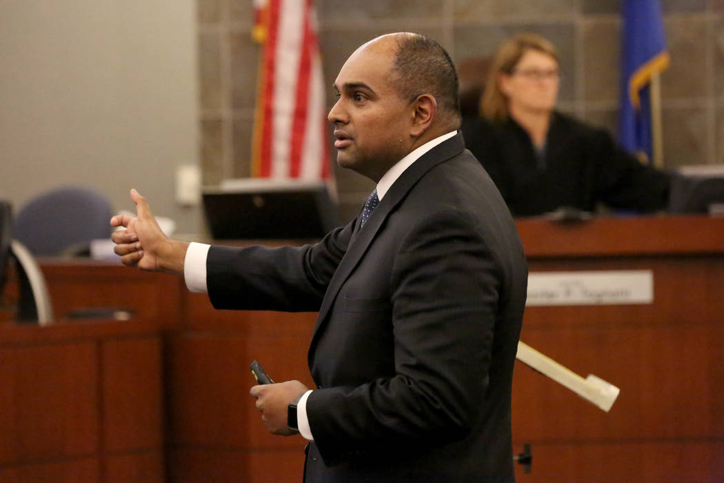 Prosecutor Binu Palal addresses the jury in his closing statement during the trial of Jarom Boyes at the Regional Justice Center in Las Vegas on Thursday, March 8, 2018. Michael Quine Las vegas Re ...