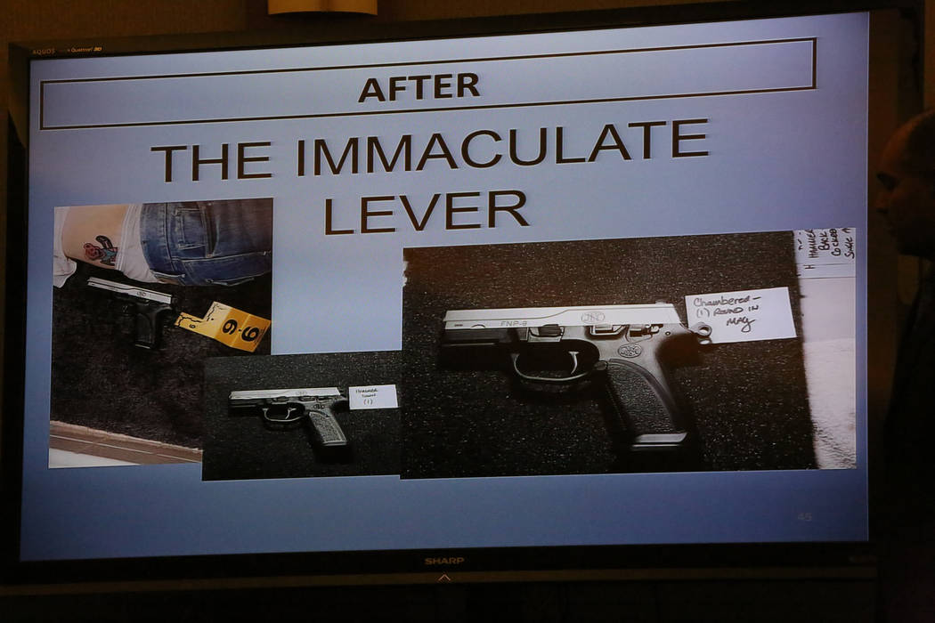 A slide from the prosecution questions the decocker, a safety feature on the handgun that killed Melissa Boyes, the wife of Jarom Boyes during his murder trial at the Regional Justice Center in La ...