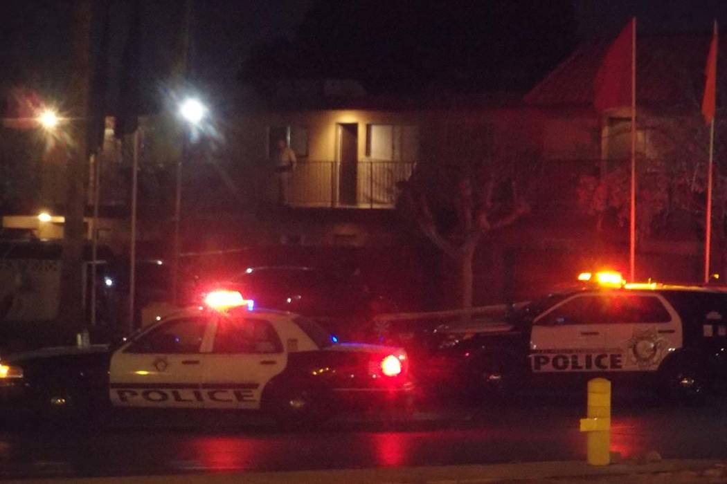 Las Vegas police are searching for a suspect and a child who might be with their father after one person, perhaps a good Samaritan, was shot Tuesday, March 6, 2018, at the Regency Place apartments ...