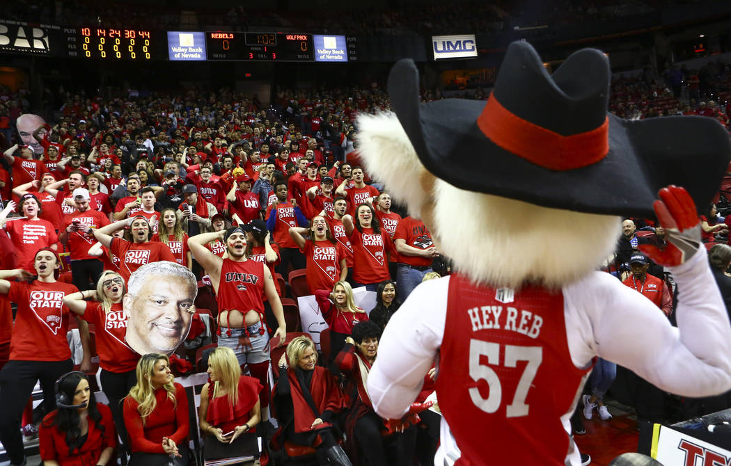 UNLV mascot Hey Reb! entertains fans before the start of a basketball game against UNR at the Thomas & Mack Center in Las Vegas on Wednesday, Feb. 28, 2018. Chase Stevens Las Vegas Review-Jour ...