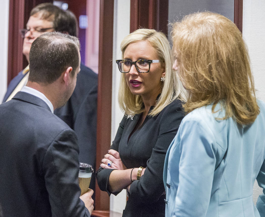 Florida Sen. Lauren Book (D-Plantation), center, speaks with Rep. Jared Even Moskowitz (D-Coral Springs), left, and Rep. Kristin Diane Jacobs (D-Coconut Creek) on the House floor during questionin ...