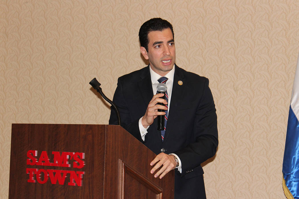 Democratic U.S. Rep. Ruben Kihuen, speaking in January at Sam's Town Casino, may reconsider his plans not to run for re-election in Nevada's 4th Congressional District. (Cristian De la Rosa/El Tiempo)