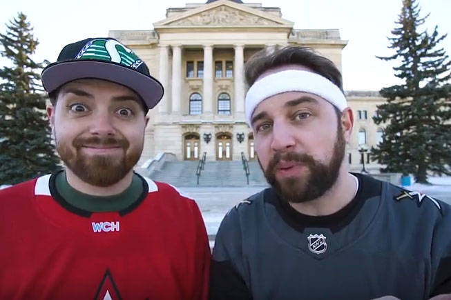 Comedy duo Justin and Greg started a petition for Saskatchewan to adopt the Golden Knights as their official team. (Screenshot/YouTube)
