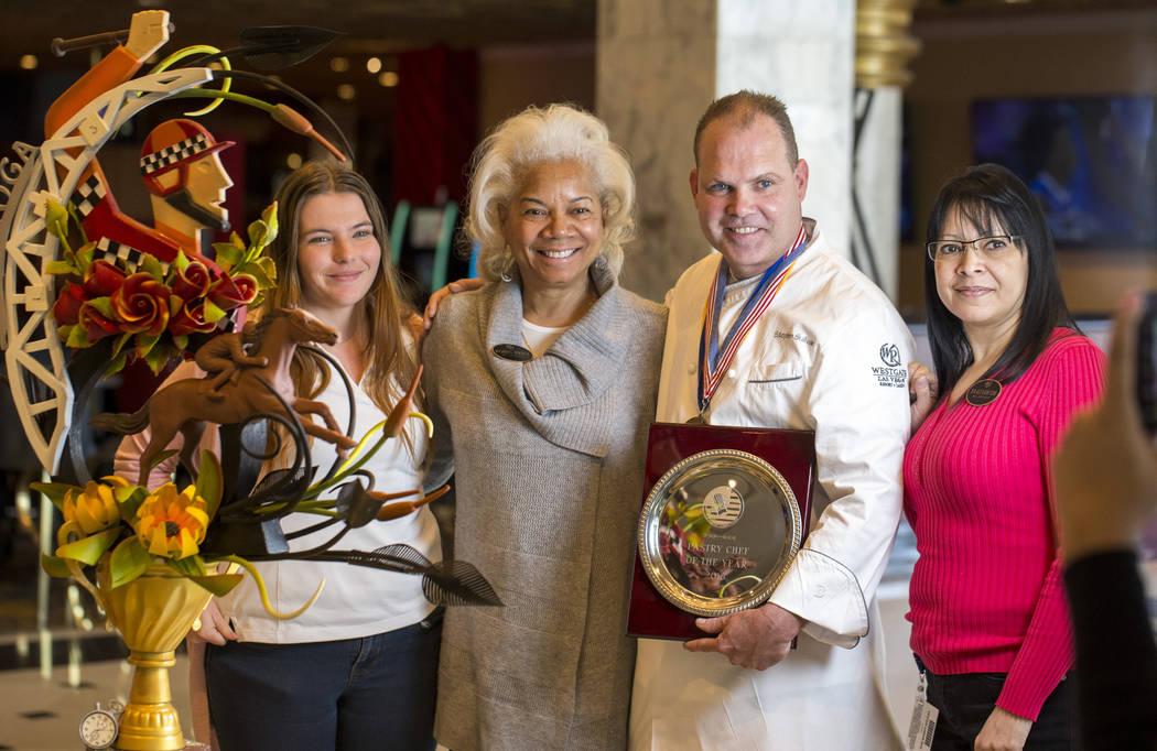 Pastry Chef Stephen Sullivan poses with passersby at the Westgate resort-casino in Las Vegas on Friday, March 9, 2018. Richard Brian Las Vegas Review-Journal @vegasphotograph