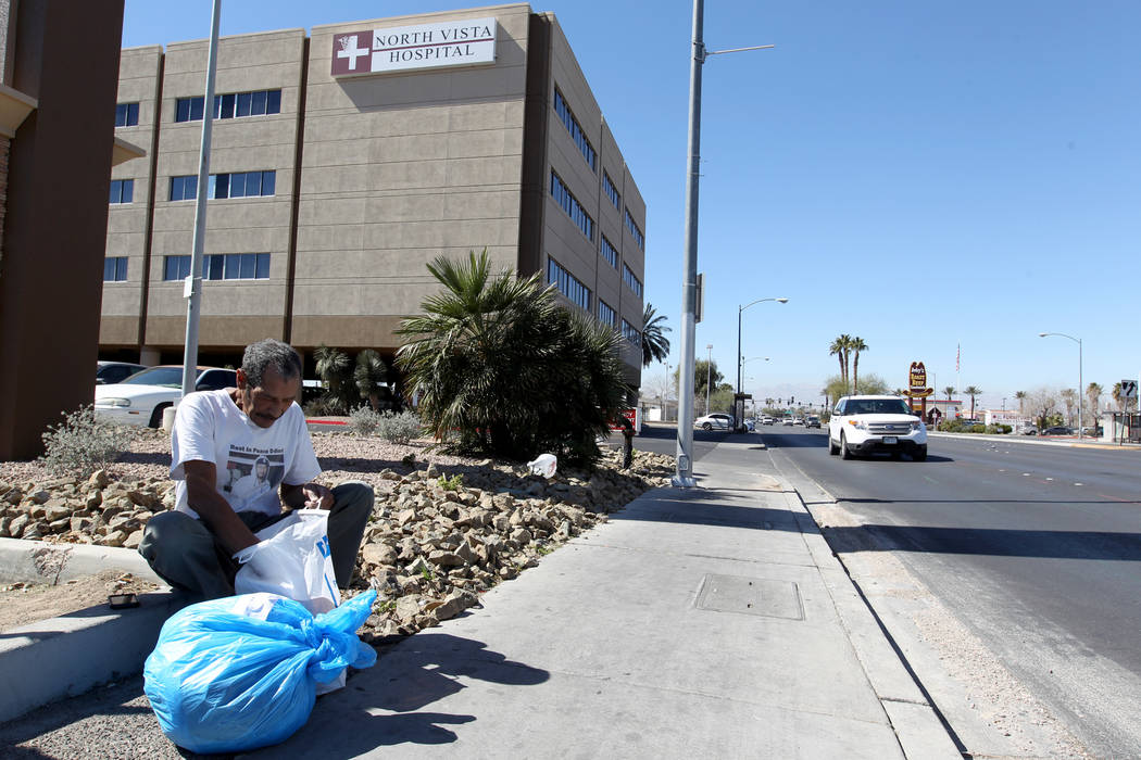Carlos Sanchez, 61, gathers his belongings after being released from North Vista Hospital's psychiatric ward Friday, March 9, 2018. K.M. Cannon Las Vegas Review-Journal @KMCannonPhoto