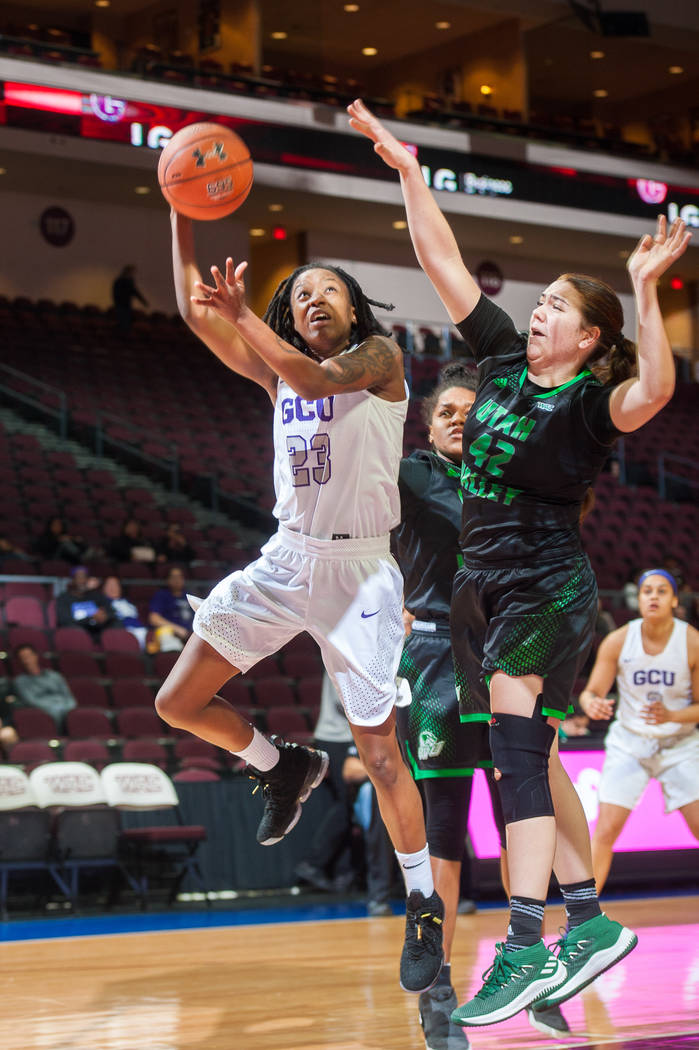 Grand Canyon senior guard Brie Mobley attempts a layup against Utah Valley in the WAC tournament quarterfinals on Wednesday afternoon. Mark Nessia/Western Athletic Conference