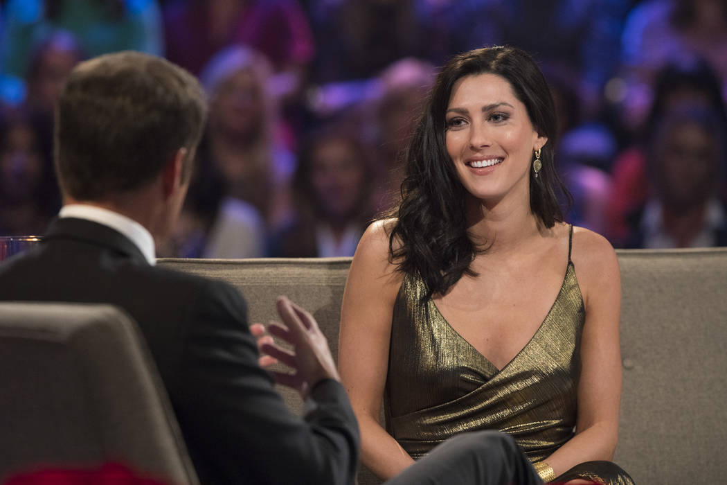"""Host Chris Harrington, left, with Becca Kufrin on """"The Bachelor: After the Final Rose."""" On this season's """"The Bachelor,"""" Arie Luyendyk Jr. broke up with Kufrin during Monday's season finale and ch ..."""