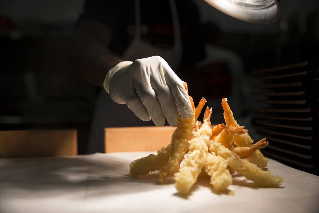 Shrimp is prepared at Cafe Sanuki in Las Vegas, Thursday, March 8, 2018. Erik Verduzco Las Vegas Review-Journal @Erik_Verduzco