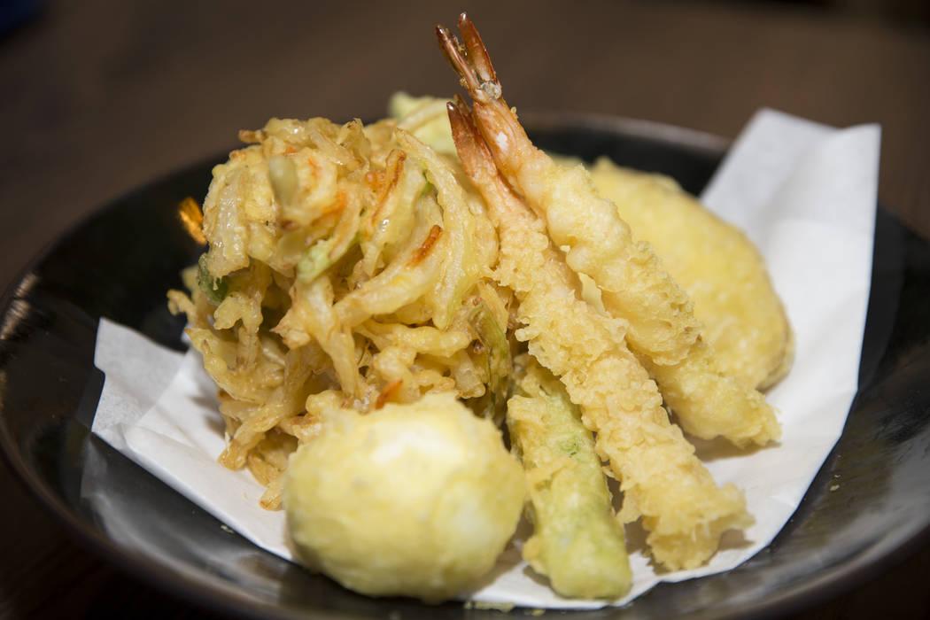 A tempura assortment served with shrimp, egg, cantaloupe and sweet potato, at Cafe Sanuki in Las Vegas, Thursday, March 8, 2018. Erik Verduzco Las Vegas Review-Journal @Erik_Verduzco
