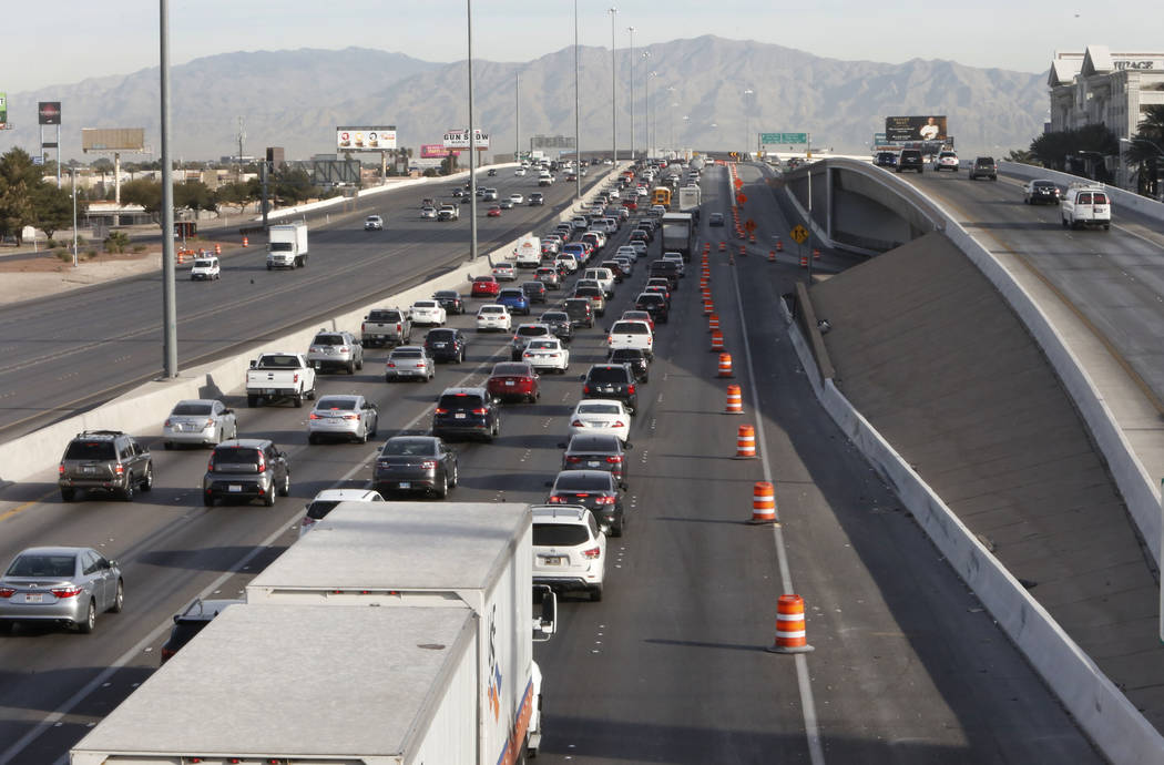 "Traffic backs up in the northbound lanes of Interstate 15, near Sahara Avenue exit in Las Vegas, on Thursday, March 8, 2018, as the ""Main Event,"" the $1 billion reconfiguration of the Spaghett ..."